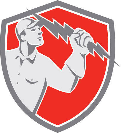 people looking up: Illustration of an electrician construction worker lineman looking up holding a lightning bolt throwing viewed from the side set inside shield crest done in retro style on isolated background. Illustration