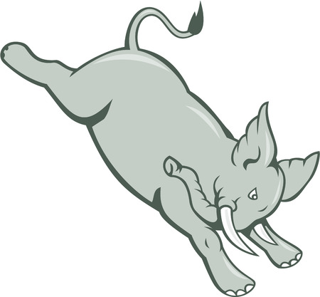 pachyderm: Illustration of an african elephant bucking jumping done in cartoon style set on isolated white background. Illustration
