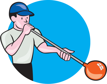 gaffer: Illustration of a glassblower, glassworker,glassmith, or gaffer glassblowing blowing glass viewed from front set inside circle done in cartoon style.
