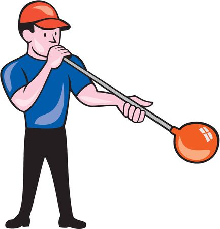 glassblower: Illustration of a glassblower, glassworker,glassmith, or gaffer glassblowing blowing glass viewed from front on isolated background done in cartoon style.
