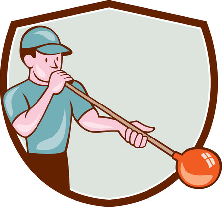 glassblower: Illustration of a glassblower, glassworker,glassmith, or gaffer glassblowing blowing glass viewed from front set inside shield done in cartoon style. Illustration