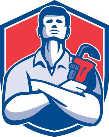 fontanero: Ilustración de una llave de retención mono doblado fontanero handyman brazos trabajador reparador visto de frente fijó dentro cresta escudo sobre fondo aislado hecho en estilo retro.