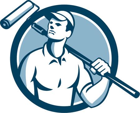 peintre en b�timent: Illustration d'un peintre en b�timent tenant un rouleau � peinture sur l'�paule levant les yeux vers le c�t� vu de face, ensemble, int�rieur cercle sur fond isol� fait dans le style r�tro.