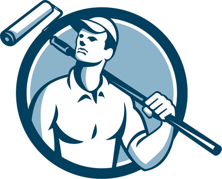 house painter: Illustration of a house painter holding paint roller on shoulder looking up to the side viewed from front set inside circle on isolated background done in retro style.