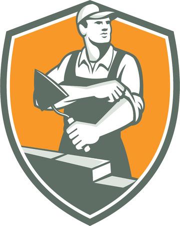 흙손 압연 슬리브 복고 스타일을 이루어 방패 안에 설정하는 측면을 찾고있는 tiler의 미장 메이슨 벽돌 건설 노동자의 그림입니다.