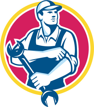 mechanic: Illustration of a mechanic wearing hat holding spanner wrench rolling sleeve looking to the side set inside circle on isolated background done in retro style.