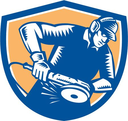 metal worker: Illustration of a skilled metal worker metalworker operating or holding a grinder viewed from front set inside shield done in retro woodcut style