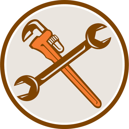 plumber: Illustration of a plumbers monkey wrench and mechanics spanner crossed set inside circle on isolated white background done in retro woodcut style. Illustration