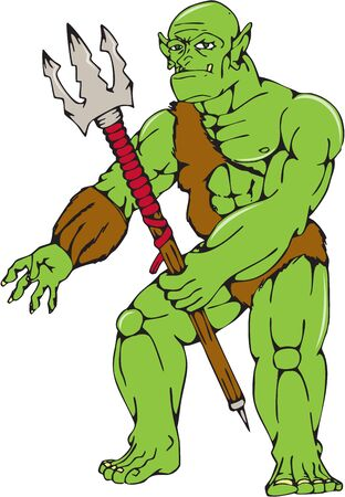 malevolent: Cartoon style illustration of an orc warrior standing holding a trident viewed from front on isolated white background.