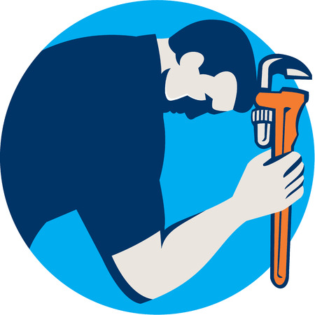 monkey wrench: Illustration of a plumber bowing holding monkey wrench viewed from the side set inside circle on isolated background done in retro style.