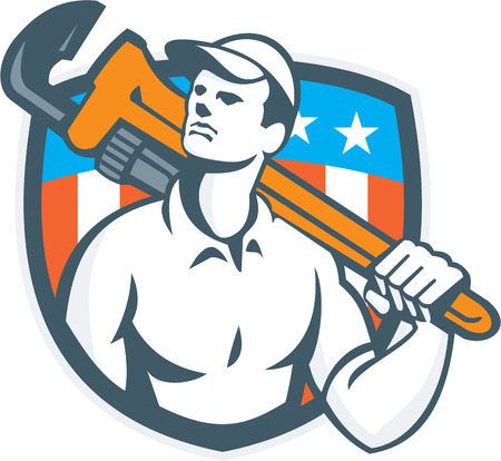 shoulder carrying: Illustration of a plumber carrying monkey wrench on shoulder looking up to the viewed from front side set inside shield crest with usa flag stars and stripes in the background done in retro style. Illustration