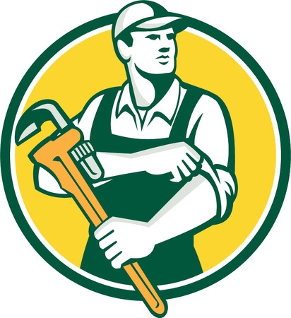 sleeve: Illustration of a plumber wearing hat holding monkey wrench rolling sleeve looking to the side set inside circle on isolated background done in retro style.