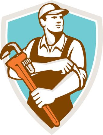 fontanero: Ilustraci�n de un fontanero que lleva el sombrero sosteniendo llave inglesa manga rodando mira a la cara conjunto dentro cresta escudo sobre fondo aislado hecho en estilo retro.
