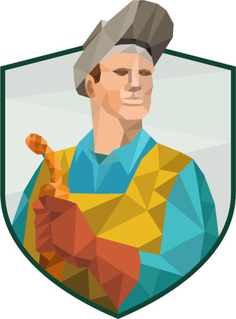welding worker: Low Polygon style illustration of welder worker working holding welding torch viewed from front set inside shield crest on isolated background. Illustration