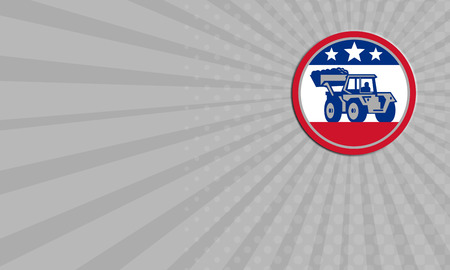 digger: Business card showing illustration of a construction digger mechanical excavator set inside circle with American stars and stripes flag done in retro style . Stock Photo