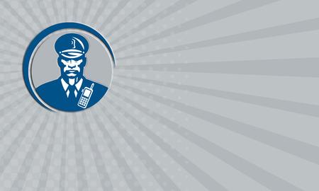 guardia de seguridad: Tarjeta de negocios que muestra la ilustraci�n de un polic�a oficial de polic�a de guardia de seguridad frente al frente fij� el c�rculo interior en el fondo aislado hecho en estilo retro.