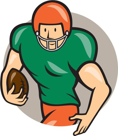 scat: Illustration of an american football gridiron player running back with ball facing side set inside circle on isolated background done in cartoon style. Illustration