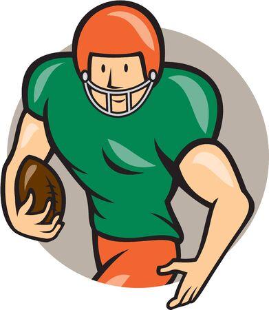 gridiron: Ilustraci�n de un jugador de campo de juego de f�tbol americano corriendo con el bal�n frente conjunto lado dentro del c�rculo sobre fondo aislado hecho en estilo de dibujos animados. Vectores