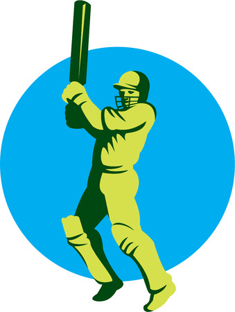 batsman: Illustration of a cricket player batsman with bat batting facing front set inside circle done in retro style on isolated background.