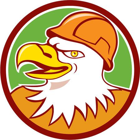 bauarbeiterhelm: Illustration eines Wei�kopfseeadler Bauarbeiter mit Helm Kopf von einer Seite im Kreis im Cartoon-Stil getan betrachtet.