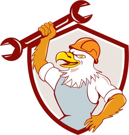 american bald eagle: Illustration of a american bald eagle mechanic wearing hard hat smiling holding spanner viewed from side set inside shield crest done in cartoon style.