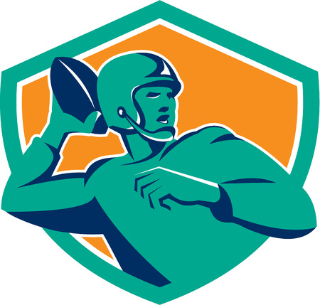 quarterback: Illustration of an american football gridiron quarterback player passing throwing ball  facing side set inside crest shield on isolated background done in retro style. Illustration