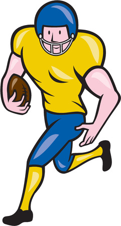 scat: Illustration of an american football gridiron player running back with ball facing side set on isolated white background done in cartoon style.