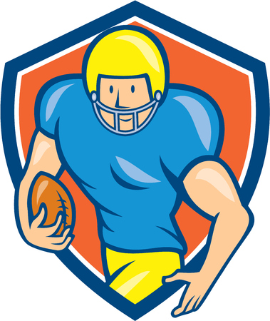 scat: Illustration of an american football gridiron player running back with ball facing side set inside shield crest on isolated background done in cartoon style.
