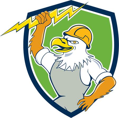 bald eagle: Illustration of a bald eagle electrician wearing hardhat holding lightning bolt viewed from side set inside shield crest done in cartoon style.