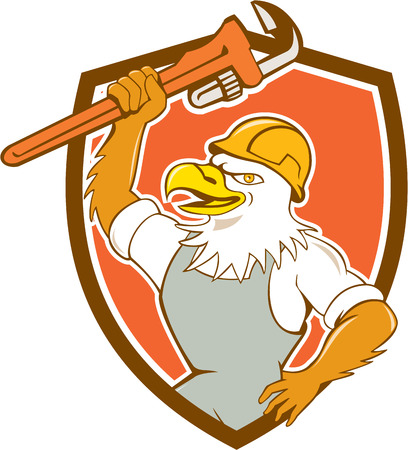 hardhat: Illustration of a bald eagle plumber smiling with hardhat holding monkey wrench viewed from side set inside shield crest done in cartoon style.