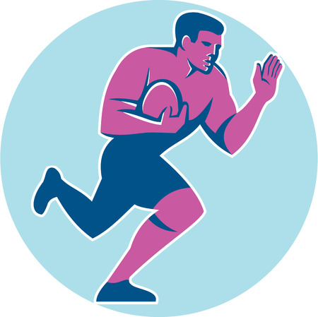 fend: Illustration of rugby union player with ball fending running set inside circle on isolated background done in retro style.