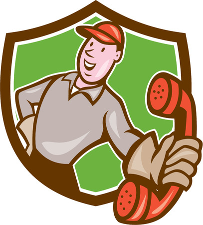calling on phone: Illustration of telephone repairman worker tradesman holding calling phone set inside shield crest done in cartoon style on isolated background