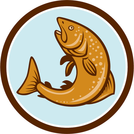 speckled trout: Illustration of a brown trout rainbow spotted fish jumping viewed from the side set inside circle on isolated background done in cartoon style. Illustration