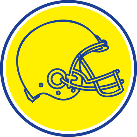 american football helmet set: Line drawing illustration of an american football helmet viewed from the side set inside circle done in retro style.