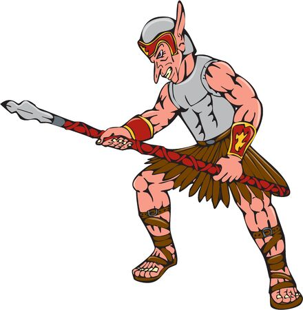 malevolent: Cartoon style illustration of an orc warrior thrusting a spear viewed from side on isolated background. Illustration