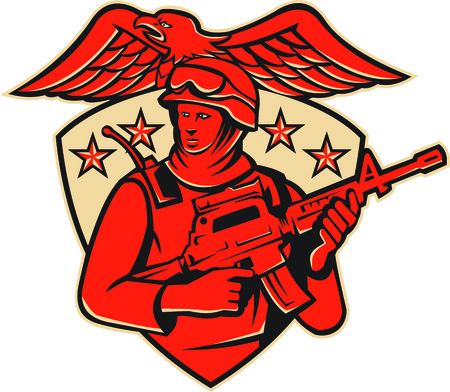 special forces: Illustration of an american soldier swat policeman with m4 carbine rifle set inside shield with stars and eagle spreading wings. Illustration