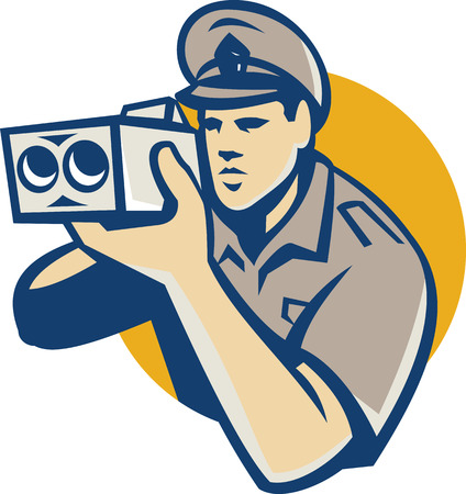 Illustration of a policeman holding operating police speed camera set side circle done in retro style.