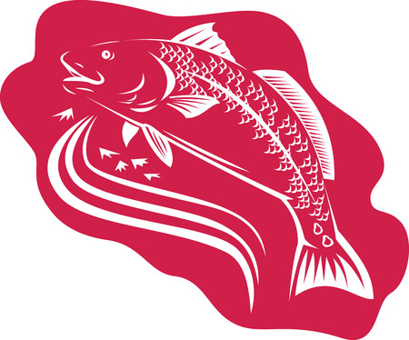 red fish: Illustration of a red drum spottail bass fish jumping swimming done in retro woodcut style. Illustration