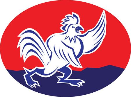 elipse: Ilustraci�n de un gallo de dibujos animados apuntando ala de pollo gallo conjunto dentro de elipse en el fondo aislado hecho en estilo de dibujos animados.