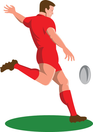 Illustration of a rugby player kicking ball viewed from side done in retro style set on isolated white background.