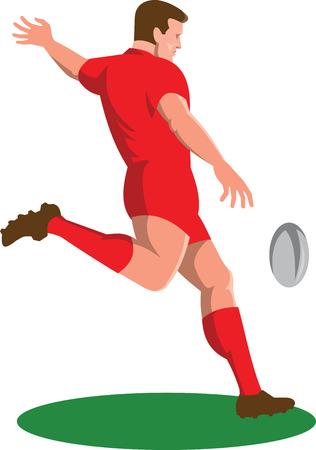 kicking ball: Ilustraci�n de una pelota de jugador de rugby patear visto desde el lado hecho en estilo retro fij� en el fondo blanco aislado.