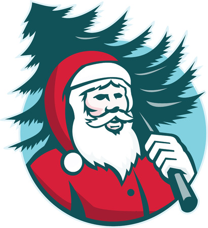 kris kringle: Illustration of santa claus kris kringle carrying a christmas tree on shoulder facing front set inside circle done in retro style on isolated white background.