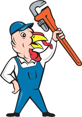 clutching: Illustration of a wild turkey plumber standing holding clutching monkey wrench looking to the side done in cartoon style on isolated white background.