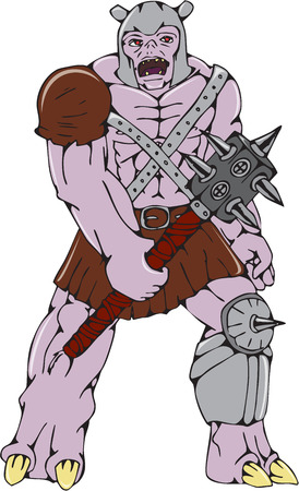 malevolent: Cartoon style illustration of an orc warrior wielding a club with thorns and spikes viewed from front on isolated background. Illustration