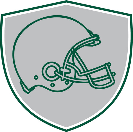 american football helmet set: Line drawing illustration of an american football helmet viewed from the side set inside shield crest done in retro style.