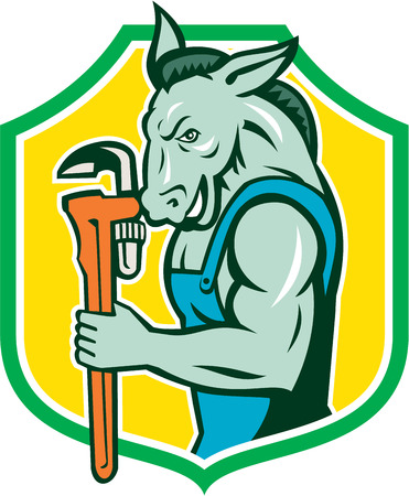 monkey wrench: Illustration of a donkey plumber mascot holding monkey wrench viewed from the side set inside shield crest done in retro style.