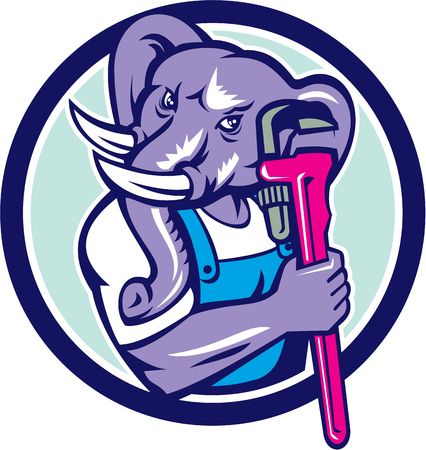 monkey wrench: Illustration of an african elephant plumber mascot holding monkey wrench set inside circle on isolated background done in retro style.