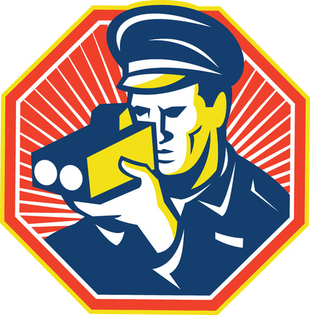 radar gun: Illustration of a policeman police officer operating a speed camera radar set inside octagon done in retro style with sunburst in the background.