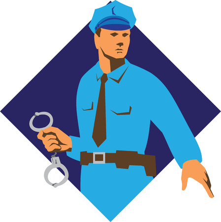 cops: Illustration of a policeman police officer with handcuffs set inside diamond shape in isolated background done in retro style.