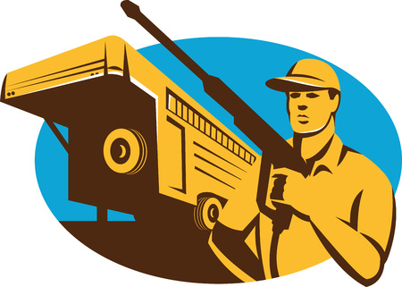 Illustration of a pressure washer cleaner worker holding a water blaster set inside oval with stock trailer in the background done in retro style. Illustration